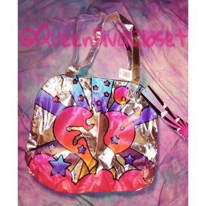 Hot topic silver pink purple unicorn tote bag